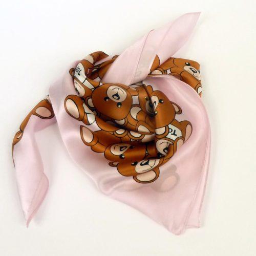 Apaszka gawroszka damska, jedwabna różowo-beżowa w misie.