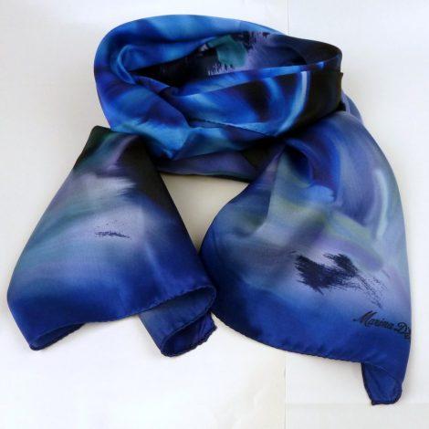 Cieniowany szalik jedwabny niebieski (5)