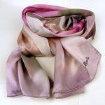 Cieniowany szalik jedwabny różowy (5)