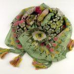Cienka chusta kwiatowa zielona (3)