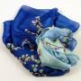 Cienki szal jedwabny niebiesko-błękitny (3)