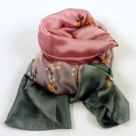 Cienki szal jedwabny szaro-różowy (1)