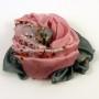 Cienki szal jedwabny szaro-różowy (2)