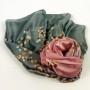 Cienki szal jedwabny szaro-różowy (3)