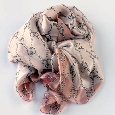 Cienki szal pętelki różowy (1)