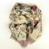 Cienki, elegancki szal damski z wełny, w kwiaty, elegancki.