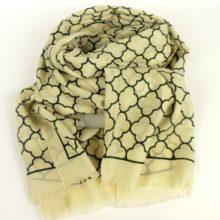 Cienki szal z wełny damski, z popularnym wzorem, elegancki, jesienno-zimowy.