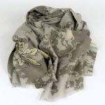 Cienki szal z wełny wzorzysty szary (1)