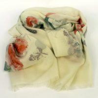 Cienki i ciepły szal damski z wełny wromantyczny, kwiatowy wzór