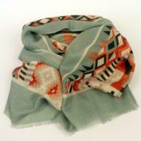 Damski szal z wełny, cienki i ciepły, kolorowy, wzorzysty z wełny