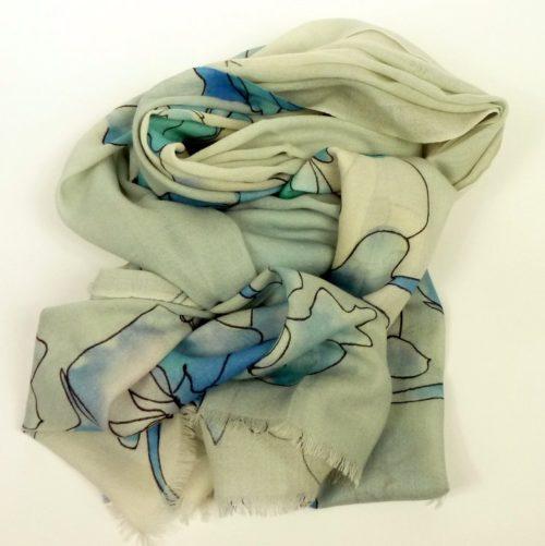 Cienki i ciepły szal z wełny, wielosezonowy, niebieski w kwiaty