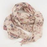Cienki szalik jasno-różowy w kwiaty