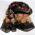 Cienki szalik jedwabny czarny (5)