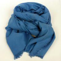 Duży, ciepły szal damski, jesienno-zimowy z kaszmirem, niebieski