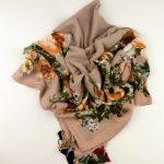 Duża chusta z wełną brudny róż (4)