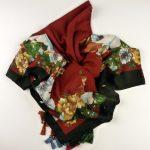 Duża chusta z wełną ciemnoczerwona (6)