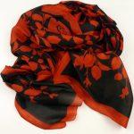Elegancki szal jedwabny czarno-czerwony (1)