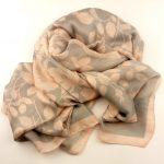 Elegancki szal jedwabny popielato-różowy (1)