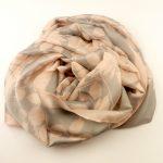 Elegancki szal jedwabny popielato-różowy (2)
