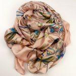 Elegancki szal jedwabny ważki różowy (1)