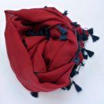 Szal bawełniany z chwostami czerwony (2)