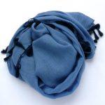 Szal bawełniany z chwostami niebieski (1)