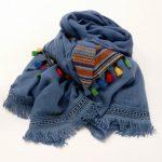 Szal bawełniany z taśmą niebieski (3)