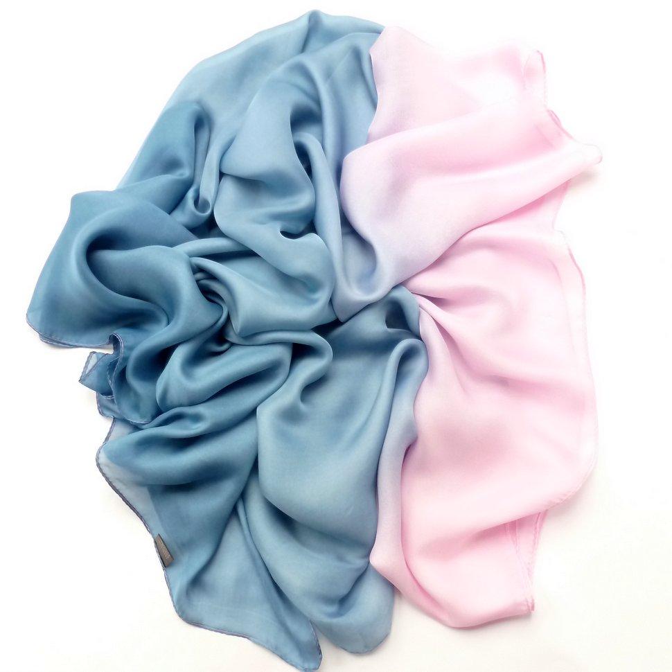 Szal cieniowany niebiesko - różowy
