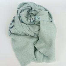 Ciepły, gruby szal damski, zimowy z wełną, błękitny.