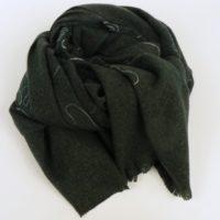Gruby, ciepły szal damski, zimowy z wełną, czarny z haftem