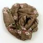 Szal jedwabny drobny wzór i gałązka brązowy (1)