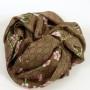 Szal jedwabny drobny wzór i gałązka brązowy (2)