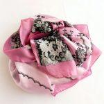 Szal jedwabny koronka różowy