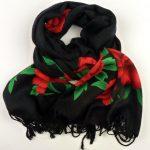 Szal z różami czarny (5)