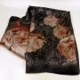 Włoska apaszka jedwabna kwiaty czarna (1)